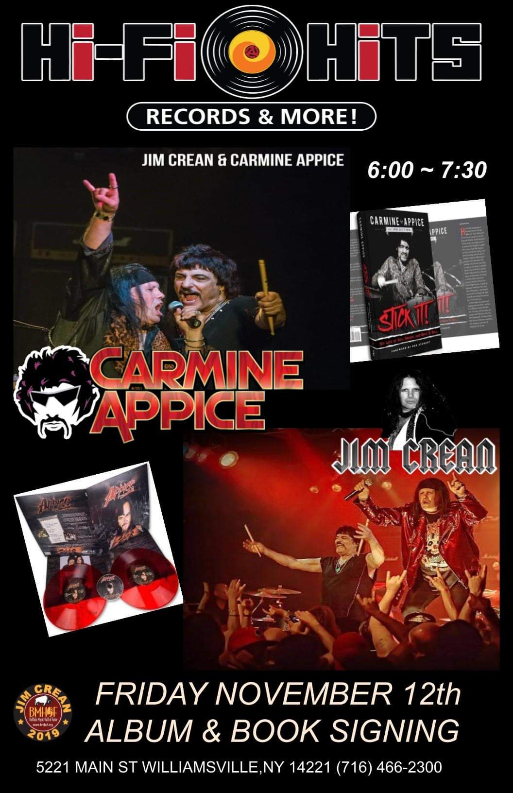 11/12/21 – Carmine Appice & Jim Crean Album & Book Signing